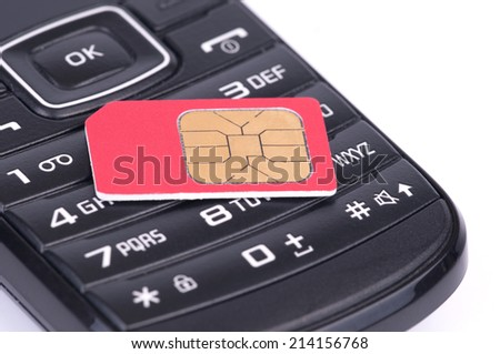 SIM Card over the Phone isolated on white background - stock photo