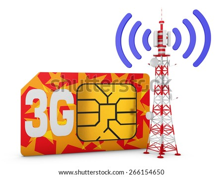 Sim card with the inscription 3G and telecommunication tower with signal. - stock photo