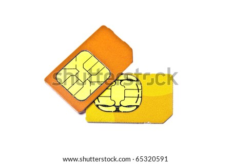 Sim cards for mobile phone isolated on white background - stock photo