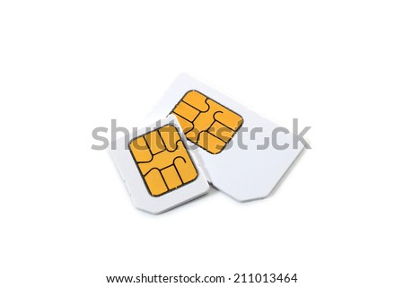 Simcard and micro simcard for cellphone on white background - stock photo