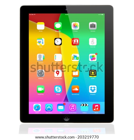 SIMFEROPOL, RUSSIA - JULY 05, 2014: Apple iPad Air displaying iOS 7.1.2 homescreen. iOS 7.1.2 operating system designed by Apple Inc. Official release of 30 June 2014. - stock photo