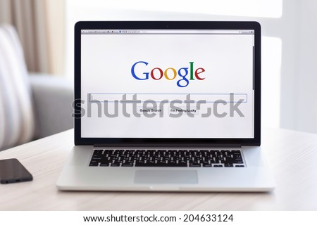 Simferopol, Russia - July 13 2014: Google biggest Internet search engine. Google.com domain was registered September 15, 1997. - stock photo