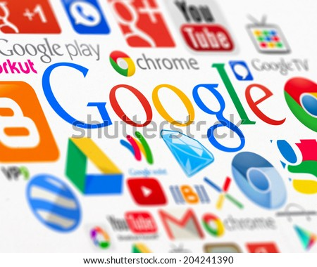 SIMFEROPOL, RUSSIA - JULY 11, 2014: Official logotypes of Google applications printed on paper. Google is an American multinational corporation specializing in Internet-related services and products - stock photo