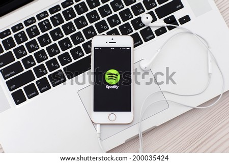 Simferopol, Russia - June 22, 2014: Spotify Swedish music service that offers legal streaming music. Was launched in October 2008. - stock photo