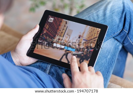 Simferopol, Russia - May 25, 2014: LinkedIn is a social network for search and establishment of business contacts. It is founded in 2002. - stock photo