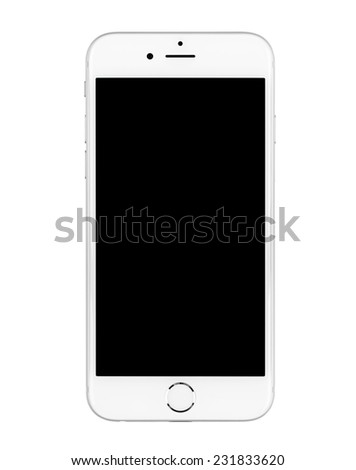 SIMFEROPOL, RUSSIA - NOVEMBER 20, 2014: Apple iPhone 6 on white background turned off with black display. The iPhone 6 and iPhone 6 Plus are smartphones running iOS developed by Apple Inc. - stock photo