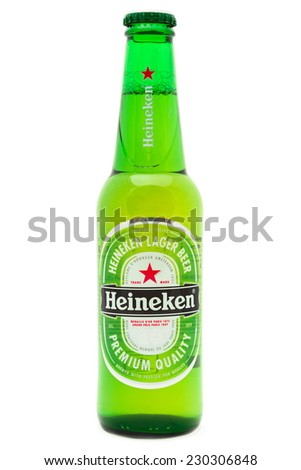 SIMFEROPOL, RUSSIA - NOVEMBER 13, 2014: Bottle of Heineken Lager Beer on white background. Heineken Lager Beer is a pale lager beer produced by the Dutch brewing company Heineken International - stock photo