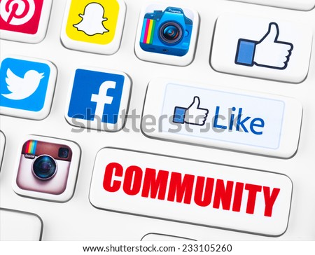 SIMFEROPOL, RUSSIA - NOVEMBER 25, 2014: Popular logotypes of social networking applications printed on sticker and placed on a buttons of keyboard. Incl.: facebook, like, instagram, twitter and other - stock photo