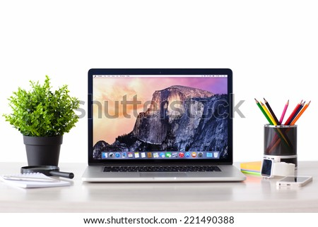 Simferopol, Russia - September 27, 2014: OS X Yosemite operating system of the Apple company. I was presented on June 2, 2014.  - stock photo