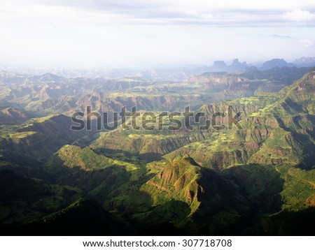 Simien mountains, view from the edge of escarpment near Sankaber Camp - stock photo