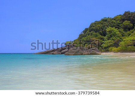 Similan island blue sea and the beach with no people in Phuket Thailand