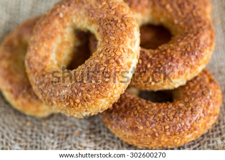 SIMIT, a traditional Turkish round Bagel with sesame seeds. Selective focus