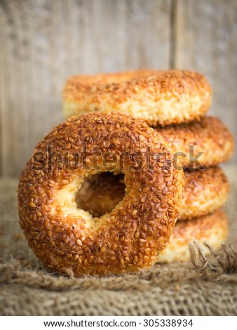 SIMIT, a traditional Turkish round Bagel with sesame seeds. Selective focus - stock photo