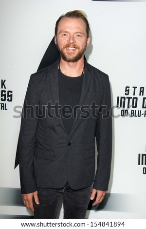 "Simon Pegg at the ""Star Trek Into Darkness"" Blu-Ray and DVD Release Party, California Science Center, Los Angeles, CA 09-10-13 - stock photo"