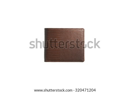 simple and beautiful brown leather wallet on white background - stock photo