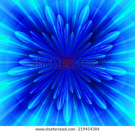 Simple and beautiful high resolution shining bright star/flower wallpaper in cyan, pink and blue colors and with a detailed decorative petals around it  - stock photo