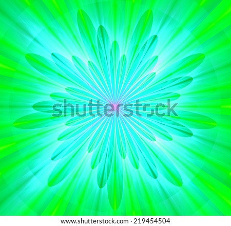 Simple and beautiful high resolution shining bright star/flower wallpaper in green, cyan and pink colors and with a detailed decorative petals around it  - stock photo