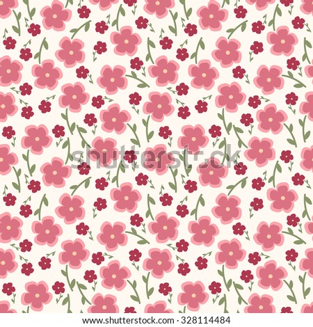 Simple and beauty flower seamless pattern. raster illustration good for textile and paper wrapping print.  Abstract floral hand-drawn background. Spring and summer flowers in pink. - stock photo
