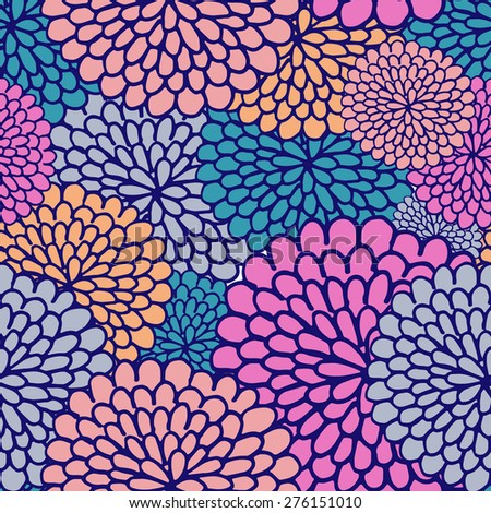 Simple and beauty varicoloured flower seamless pattern. raster version illustration good for textile and paper wrapping print. Can be copied without any seams. - stock photo