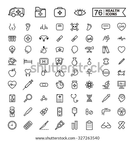 simple and trendy 76 thin line icons for medical concept - stock photo
