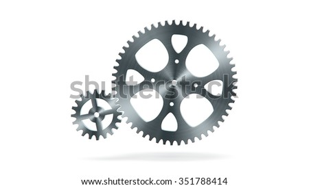 Simple animation of two gear wheels in grey colors - stock photo