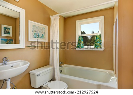 Simple bathroom interior with small window and white bath curtain - stock photo