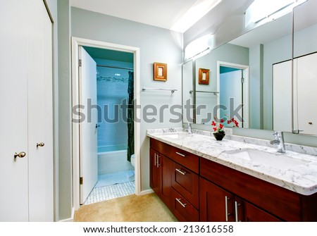 Simple bathroom interior with vanity cabinet with marble top and mirror