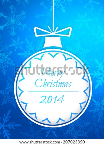 Simple Bauble Merry Christmas 2014 Blue Background