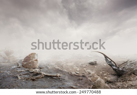 Simple beautiful surreal landscape with grass and ground on misty background - stock photo