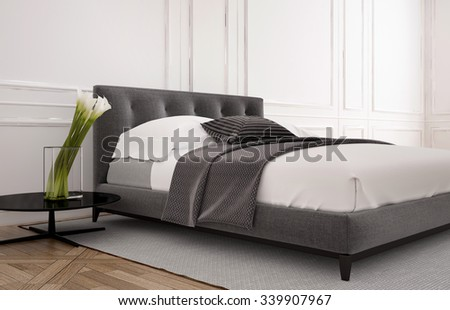 Simple bedroom interior with double bed, wooden parquet floor and white wood panelled walls with grey and white decor, 3d rendering