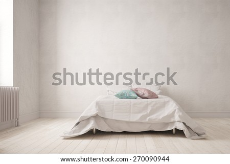 Simple bedroom with a big double bed on the wall (3D Rendering) - stock photo