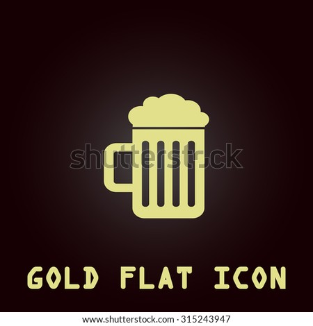 Simple Beer mug. Gold flat icon. Symbol for web and mobile applications for use as logo, pictogram, infographic element