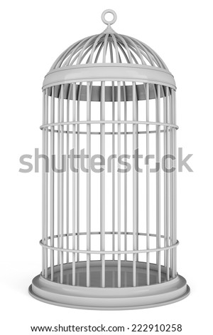Simple Bird Cage on a white background  - stock photo