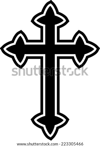 Simple Black White Graphic Celtic Cross Stock Illustration 223305466
