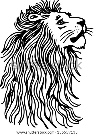 Simple black and white line drawing of a lions head and mane.