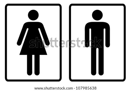 Simple black and white male and female toilet symbols - stock photo
