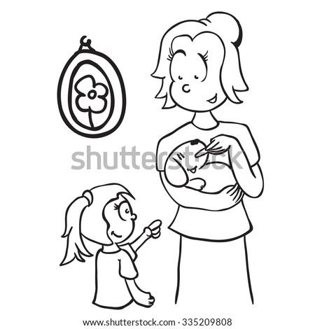 simple black and white mom feeding a dog cartoon - stock photo
