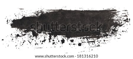 Simple black ink background on rough textured paper, isolated - stock photo