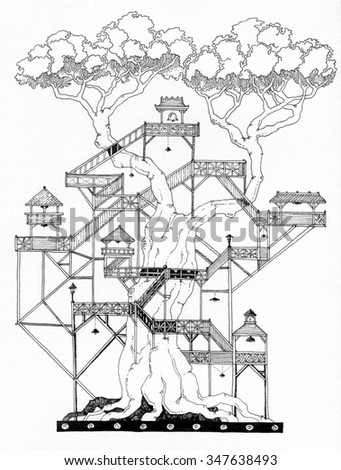simple black on white drawing - BONSAI - tree house