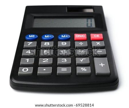 Simple black plastic calculator, isolated over white - stock photo