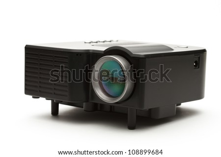 Simple black projector on a white background - stock photo