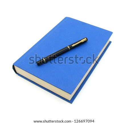 simple blue hardcover book and black pen on white background - stock photo