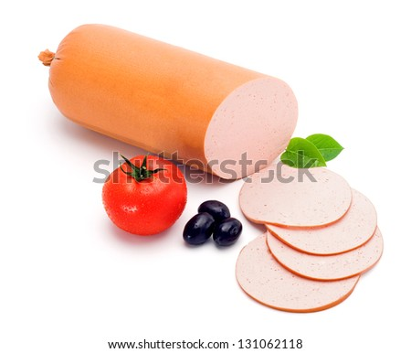 Simple bologna sausage and slices, decorated with vegetables - stock photo