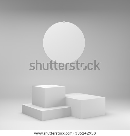 simple box display with round hanger - stock photo