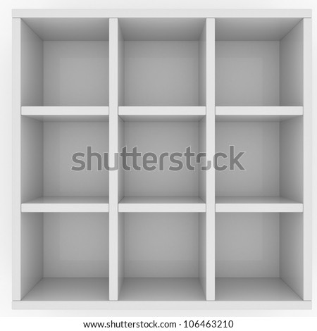 Simple box for mailing letters with nine cells isolated on white