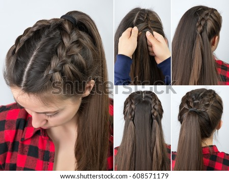 Simple Braided Hairstyle Tutorial Step By Stock