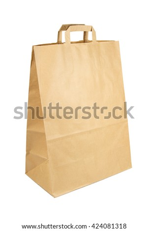 Simple brown paper shopping bag isolated on white background - stock photo