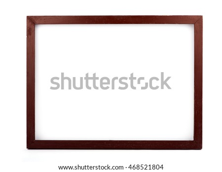 Simple brown wooden  frame on white background