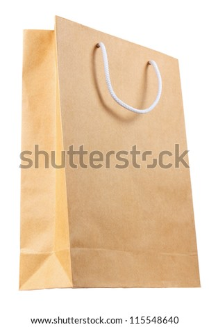 Simple browse recycled paper bag isolated on white background - stock photo