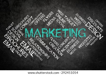 Simple Business Marketing Concept with Other Related Words in a Word Cloud Style on a Black Chalkboard. - stock photo